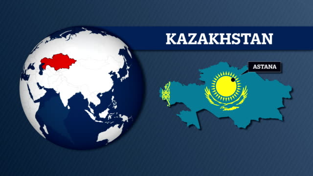 Earth Sphere Map and Kazakhstan Country Map with National Flag Earth Sphere Map and Country Map with National Flag kazakhstan stock videos & royalty-free footage