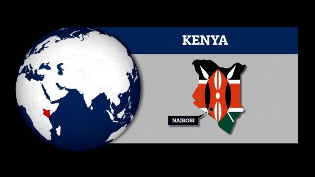 vídeos de stock e filmes b-roll de earth sphere map and kenya country map with national flag - quénia