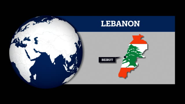 Earth Sphere Map and Lebanon Country Map with National Flag Earth Sphere Map and Country Map with National Flag beirut stock videos & royalty-free footage