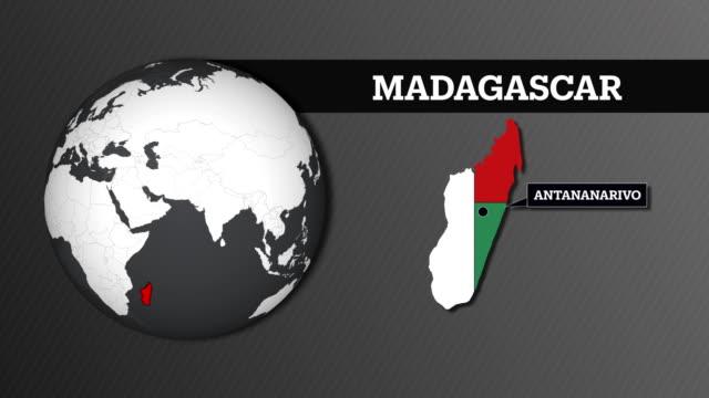 jordens sfär map och madagaskar landet med flagga - madagaskar bildbanksvideor och videomaterial från bakom kulisserna
