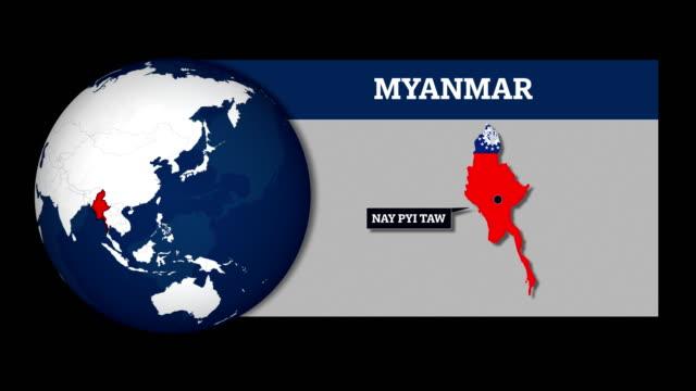 mappa della sfera terrestre e mappa del paese del myanmar con bandiera nazionale - naypyidaw video stock e b–roll