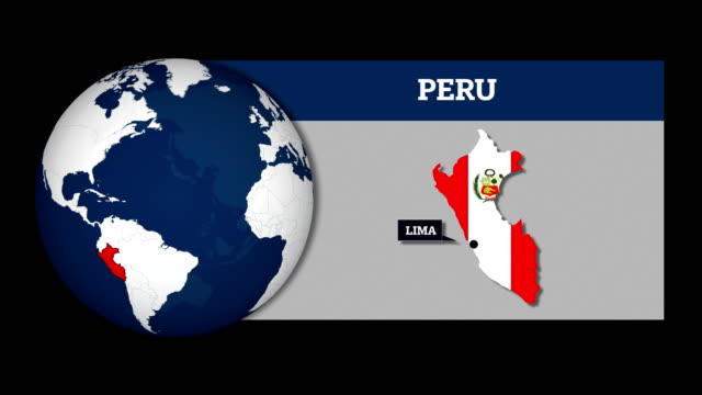 Mapa de la esfera y mapa del país Perú con la bandera nacional de la tierra - vídeo