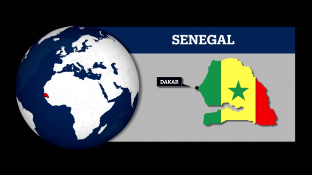 earth sphere map and senegal country map with national flag - dakar video stock e b–roll