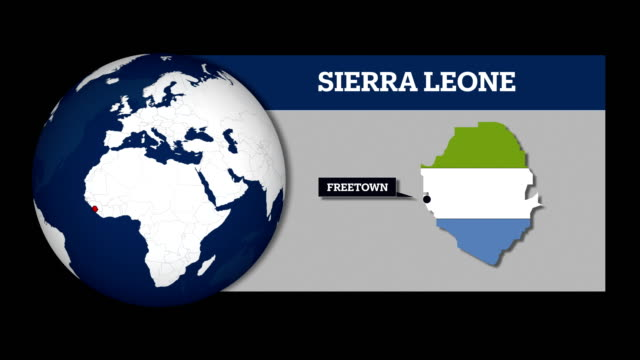 earth sphere map and sierra leone country map with national flag - sierra leone video stock e b–roll