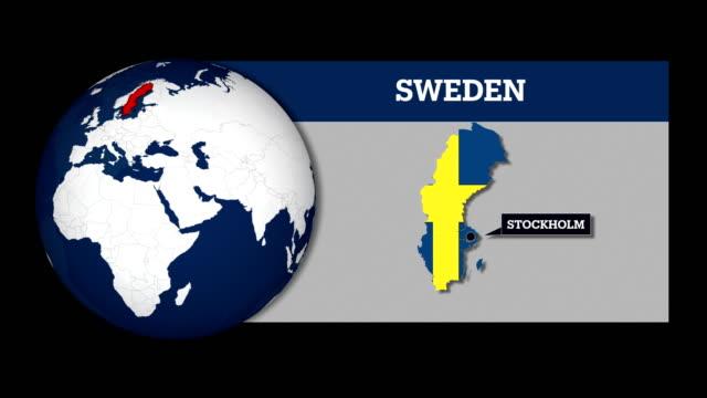 jordens sfär karta och sverige land karta med flagga - sweden map bildbanksvideor och videomaterial från bakom kulisserna