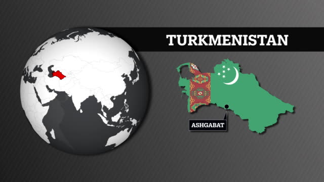 Earth Sphere Map and Turkmenistan Country Map with National Flag Earth Sphere Map and Country Map with National Flag turkmenistan stock videos & royalty-free footage