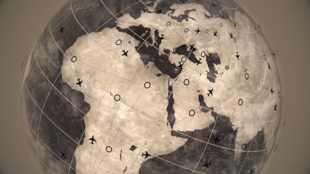 Earth Sphere Map with Flying Airplane Routes, Air Travel Destinations Animation, Business Travel Road Trip Satellite View World Globe Spinning Time Lapse, Plane Route Animation, Air Traffic