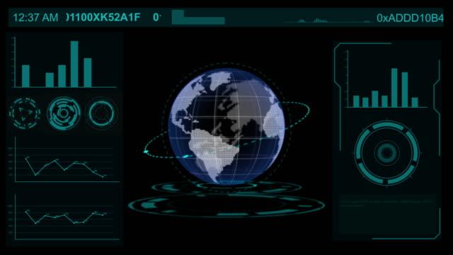 vidéos et rushes de écran d'interface de technologie de sphère de terre, élément de hud affichent la science-fiction avec le graphique d'affaires, la technologie du concept futur - rétine