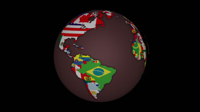 Earth Sphere with Country Maps and Flags - Alpha Channel - Infinite Loop