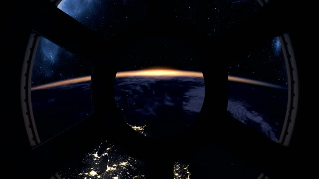 Earth sunrise seen from ISS Sunrise over Earth seen from International Space Station side lit stock videos & royalty-free footage