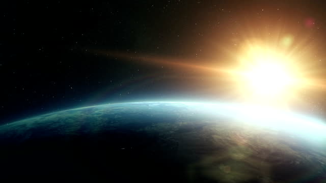 Earth sunrise space 3d render Earth sunrise space (close-up) sunrise dawn stock videos & royalty-free footage