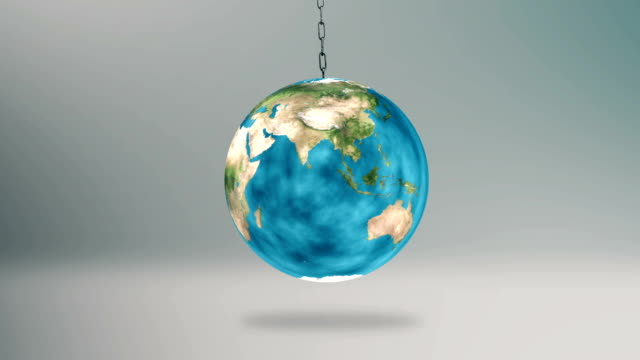 Earth Swinging Hanged on Chain 3D Illustration video