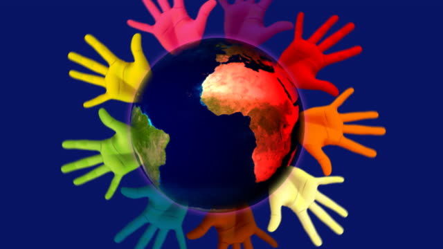 Earth United A spinning earth with number of multi coloured hands rotating around it. civil rights stock videos & royalty-free footage