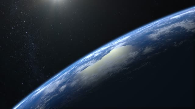 Earth. View from space. The camera is approaching Earth. The horizon is turned to the left. Stars twinkle. 4K. Realistic atmosphere. 3D Volumetric clouds. No sun in the frame.