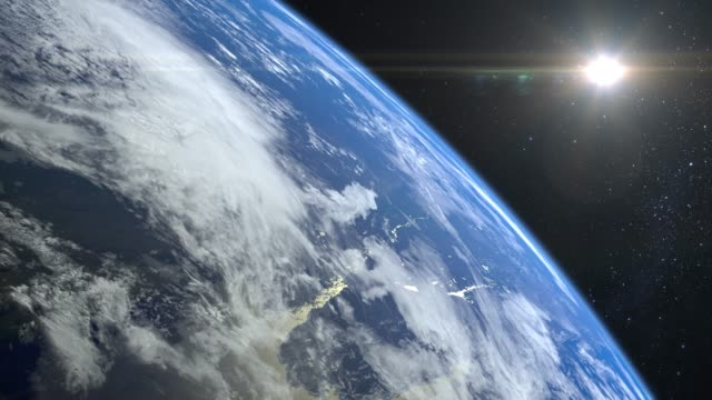 earth. view from space. the camera rotates to the right and flies away from the earth. stars twinkle. 4k. realistic atmosphere. 3d volumetric clouds. the sun is in the frame. - kosmos i astronomia filmów i materiałów b-roll