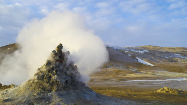 Earth, volcanic activity, Geothermal area , fumaroles volcanic boiling mud pots, Iceland.