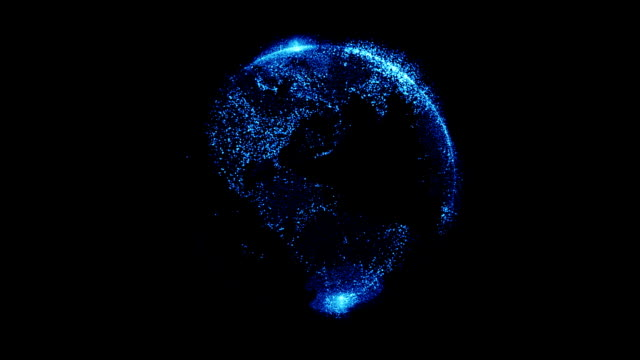 vídeos de stock, filmes e b-roll de terra com partículas azuis - globo terrestre