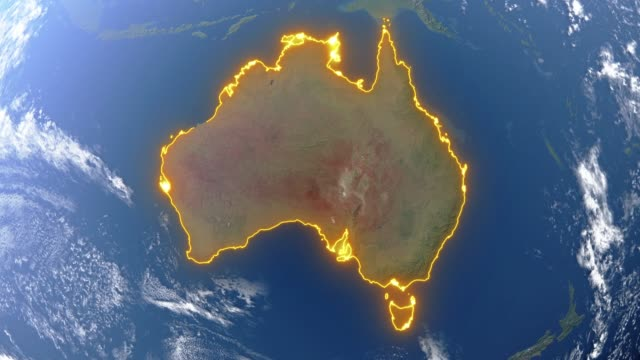 Earth with borders of Australia Realistic 3d animated earth showing the borders of the country Australia and the capital Canberra in 4K resolution oceania stock videos & royalty-free footage