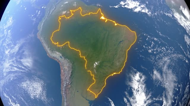 Earth with borders of Brazil Realistic 3d animated earth showing the borders of the country Brazil and the capital Brasilia in 4K resolution brazil stock videos & royalty-free footage