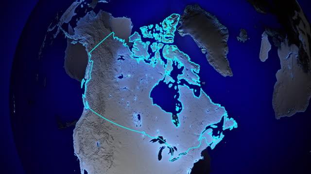 Erde mit Grenzen von Kanada transparent – Video