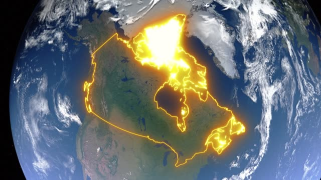 Video Earth with borders of Canada