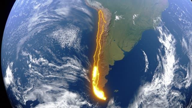 Erde mit Grenzen von Chile – Video