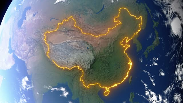 Erde mit Grenzen Chinas – Video