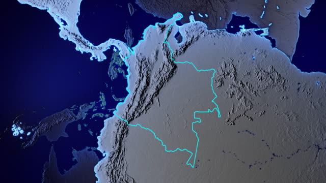 Erde mit Grenzen von Kolumbien transparent – Video