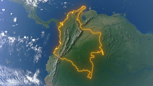 earth with borders of colombia - колумбия стоковые видео и кадры b-roll