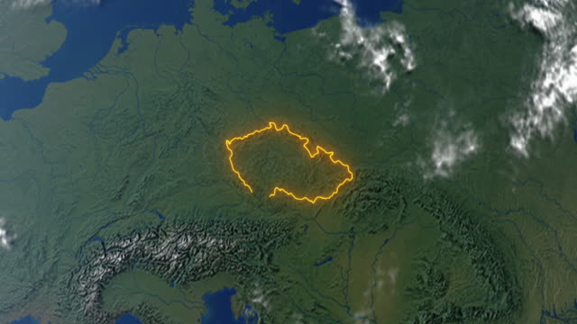 Earth with borders of Czech Republic video