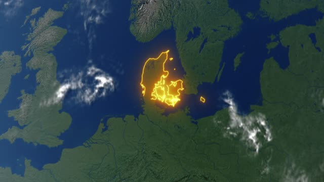 Earth with borders of Denmark video