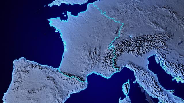Erde mit Grenzen von Frankreich transparent – Video