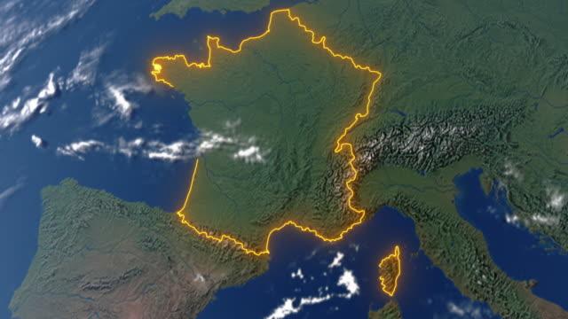 earth with borders of france - francja filmów i materiałów b-roll