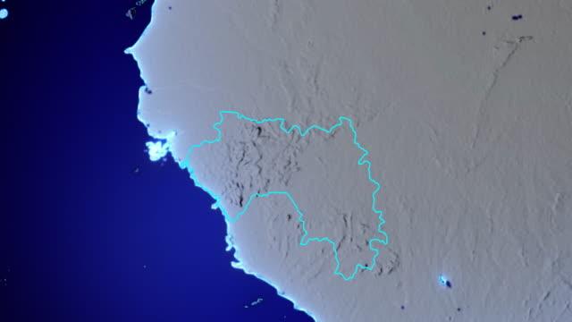 Erde mit Grenzen von Guinea transparent – Video