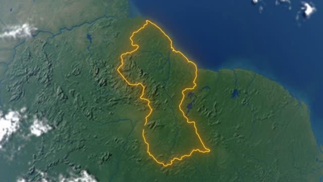 Erde mit Grenzen von Guyana – Video