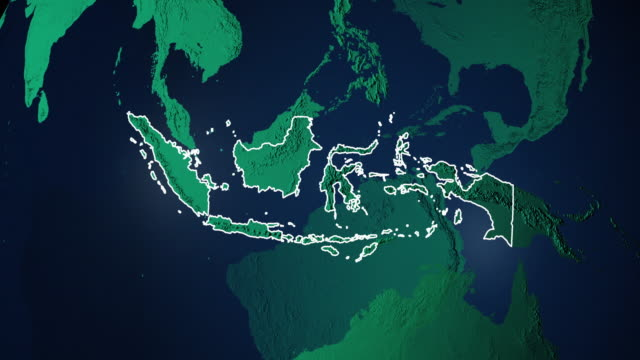 Erde mit Grenzen Indonesiens digital – Video