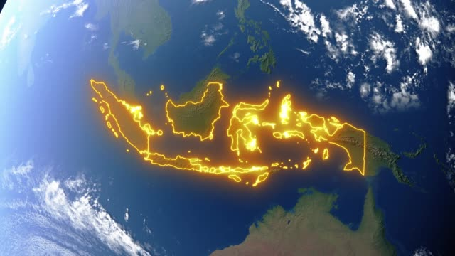Earth with borders of Indonesia Realistic 3d animated earth showing the borders of the country Indonesia and the capital Jakarta in 4K resolution indonesia stock videos & royalty-free footage