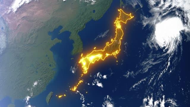 Erde mit Grenzen zu Japan – Video