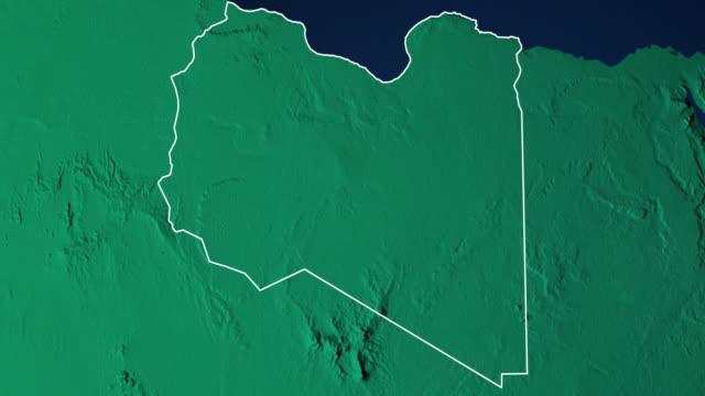 earth with borders of libya digital - libia video stock e b–roll