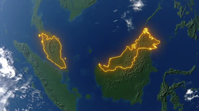 Earth with borders of Malaysia
