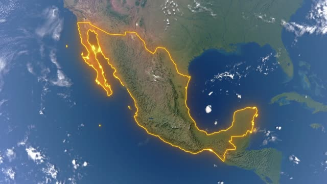 Earth with borders of Mexico