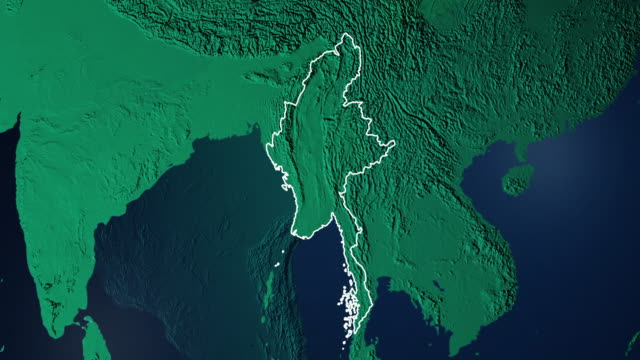 earth with borders of myanmar digital - naypyidaw video stock e b–roll