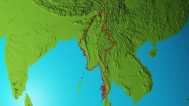 earth with borders of myanmar graphic - naypyidaw video stock e b–roll