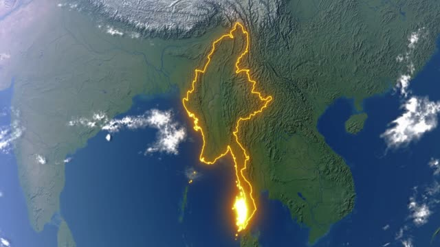 earth with borders of myanmar - naypyidaw video stock e b–roll