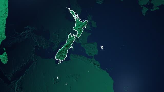 Erde mit Grenzen Neuseelands digital – Video