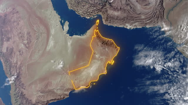 earth with borders of oman - paesi del golfo video stock e b–roll