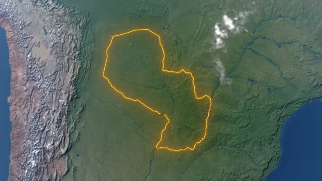 earth with borders of paraguay - парагвай стоковые видео и кадры b-roll