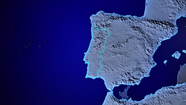 vídeos de stock e filmes b-roll de earth with borders of portugal transparent - portugal map