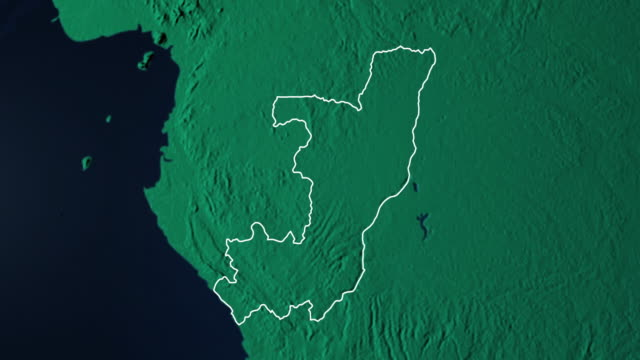 Earth with borders of Republic of the Congo digital video