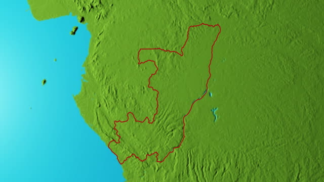 Earth with borders of Republic of the Congo graphic video